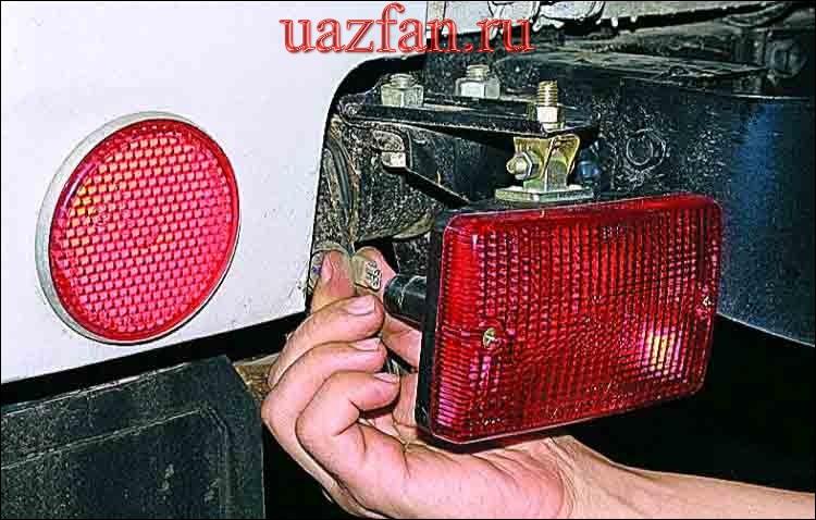 Снятие заднего и противотуманного фонарей