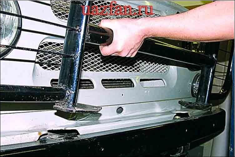 Снятие защитной дуги и буксирных крюков