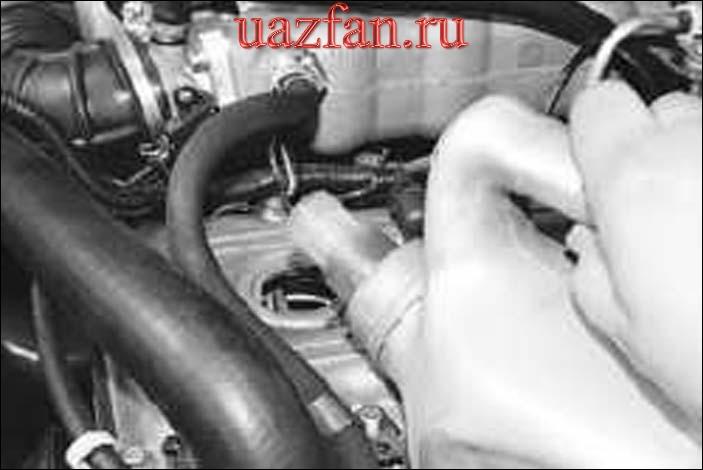 Проверка уровня и доливка масла в систему смазки